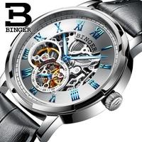 BINGER Watch 2019 New Classic Golden Luxury Skeleton Mechanical Watches Waterproof Black Genuine Leather Men's Wristwatches Male