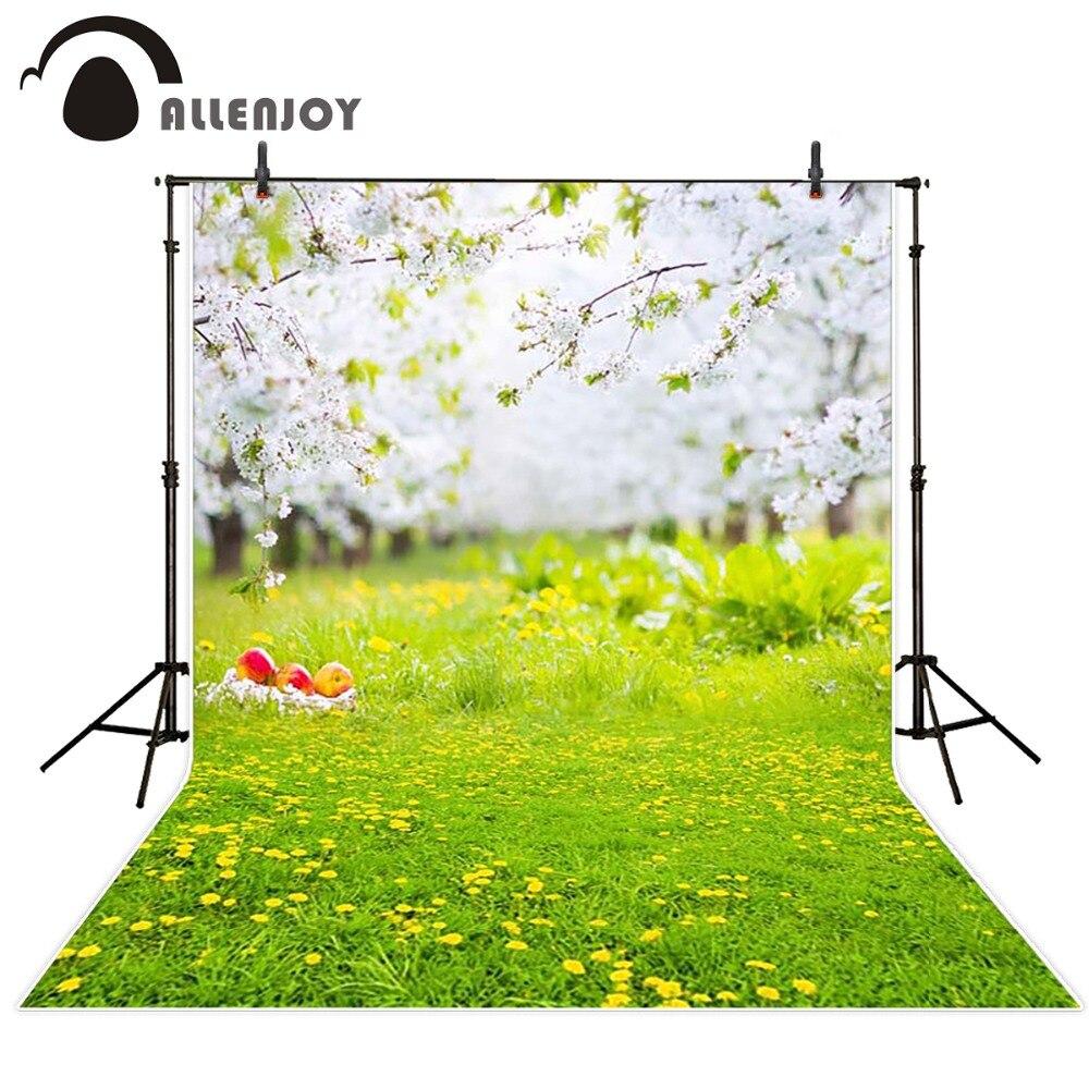 Allenjoy backdrops Photography spring background Natural fresh lawn garden princess boy vinyl fabric