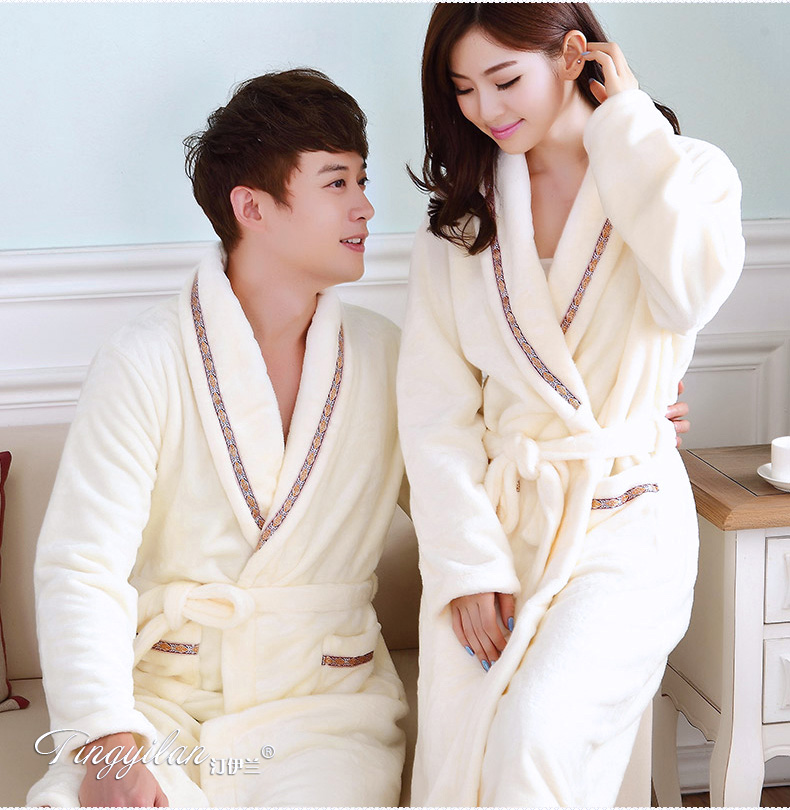 Couples Coral Fleece Robe Girls Warm Flannel Pajamas Women Thickened Long Sleeve Bathrobe Men Coral Fleece Homewear D-2086