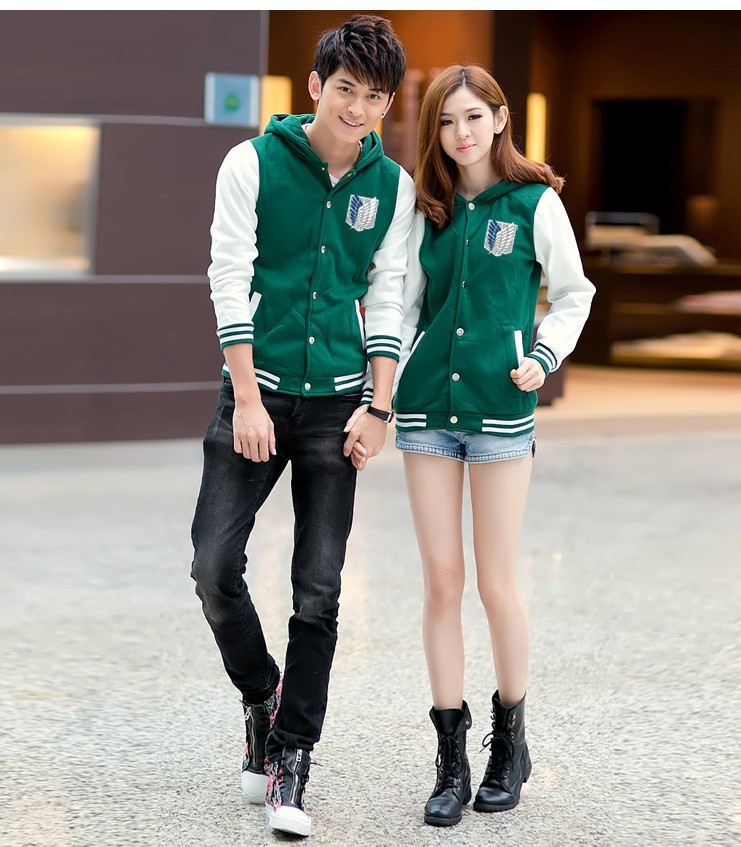 Attack on jacket Scratched Velvet fashion casual hoodies Sweatshirt cosplay anime costume for couples