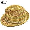 2016 de La Moda de Playa Sombrero de Paja Flojo Señora Sombreros Panamá Fedora Bowknot Sombreros de Verano para Mujeres