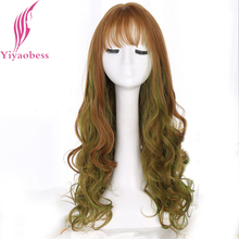 Yiyaobess Synthetic Brown Green Ombre Wig With Bangs Natural Long Wavy Highlights Hair Wigs For Women High Temperature 28inch