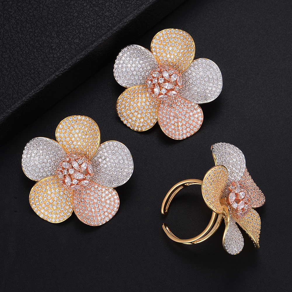 Fashion Big Size Flower Shape Cubic Zirconia Earrings And Ring Jewelry Sets For Women Wedding Engagement chic ellipse shape faux gem flower earrings for women
