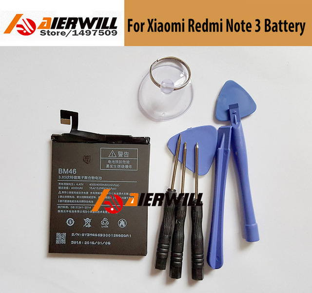 High Quality 100% NEW  For Xiaomi Redmi Note 3 Battery BM46 4000mAh Replacement Battery For Redmi Note 3 Prime Pro Phone Battery