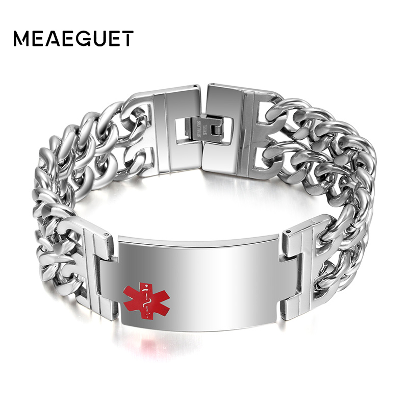 MEAEGUET 235mm Long Double Layer Chain Medical Bracelet Men Jewelry Stainless Steel Bangle Provide Engraved