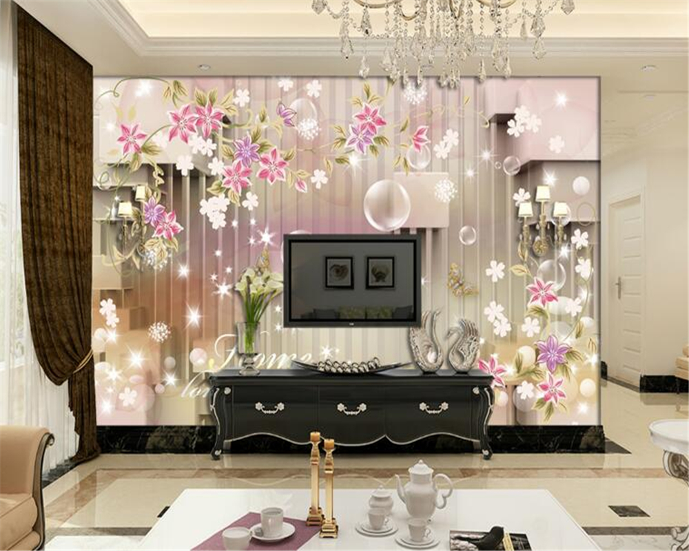 Beibehang Simple Flower Stripes 3D Cube Plaza Flowers Mural 3d Wallpaper Living Room Bedroom Decoration