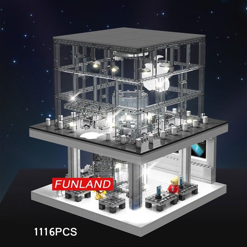 Créateur ville vue sur la rue apple magasin building block figurines briques modèle minifigs jouets avec la lumière pour les enfants cadeaux