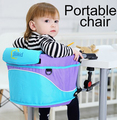 Portable baby dining chair travel outdoor chair for feeding dining chairs poltroncina per bambini bees blue plaid seat  chaise