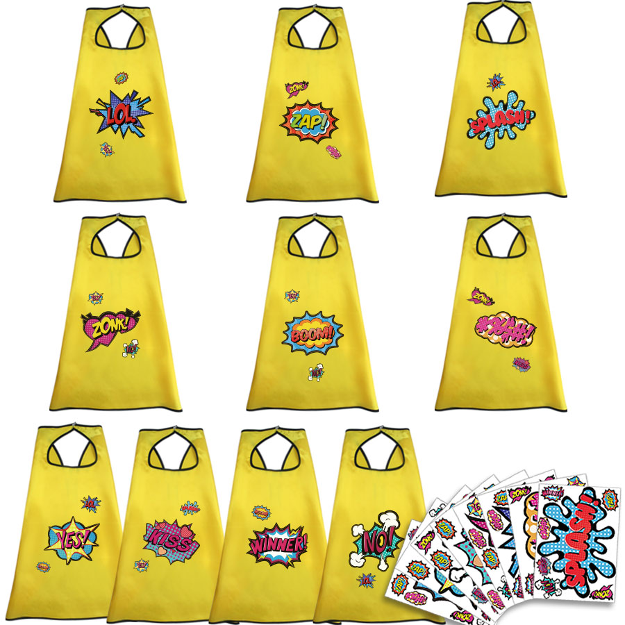 10 Pcs Speciale Gele Cape Masker Sticker Super Meisjes Kostuums Capes Kinderen Dag Party Dress Up Cosplay Meisjes Carnaval Speelgoed De Mondholte Schoonmaken.