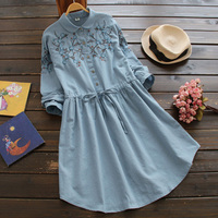 Japanese Women's Sweet Flower Embroidered Drawstring Casual Cotton Linen Turn Down Collar Long Sleeved Female Cute Dress