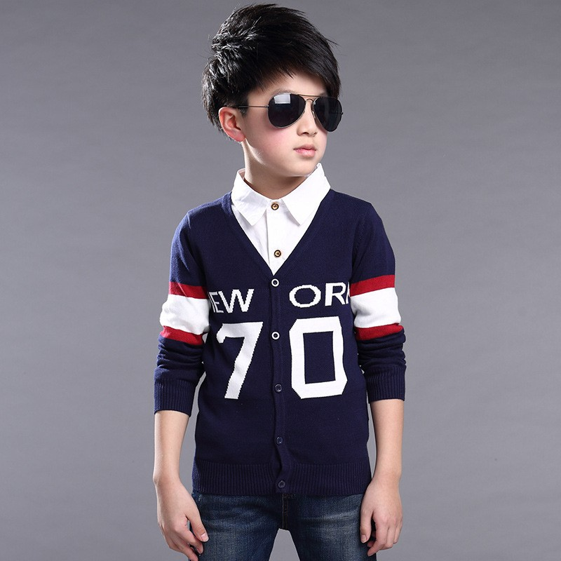 Fashion-Children-Knit-Cardigan-Coats-Big-Boys-Gentleman-V-Neck-Outwear-British-Style-New-York-Letter