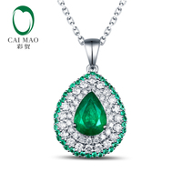 Free Shipping Pear Cut 0 95ct Emerald 14kt White Gold Round Cut Diamonds Pendant For Necklace