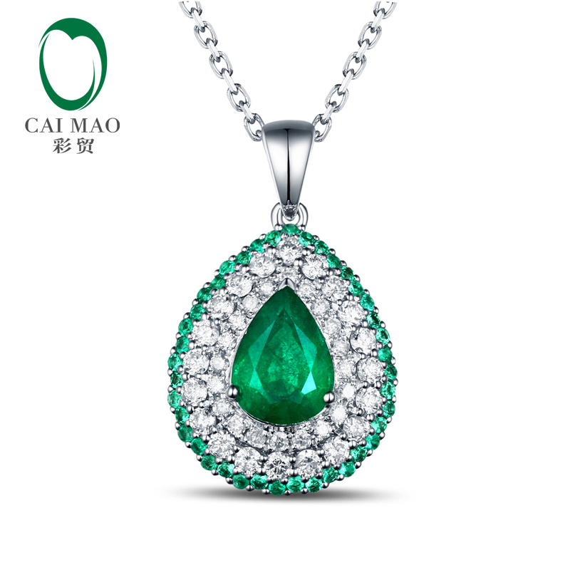 Free shipping Pear Cut 0.95ct Emerald 14kt White Gold Round Cut Diamonds Pendant For Necklace