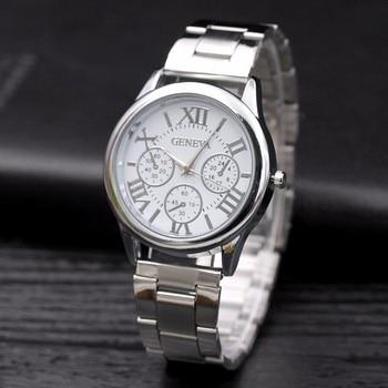 New Famous brand Geneva Casual Women Watches Roman Numerals Quartz watch stainless steel Dress Ladies wrist watch Kobiet zegarka Women Quartz Watches