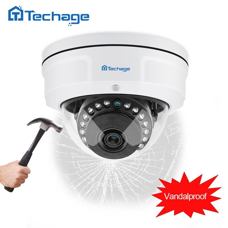 Techage H.265 4MP 2592*1520 Anti-Vandalisme Anti-vandalisme POE IP Caméra Intérieure Extérieure Boîtier Métallique IP66 ONVIF P2P dôme CCTV HD Caméra