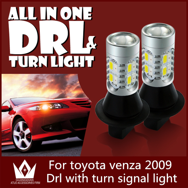 Guang Dian Car led light DRL with signal light Daytime Running Lights and Turn Signals light For  venza 2009 3157 3457 T25 guang dian car led light gold color daytime running lights