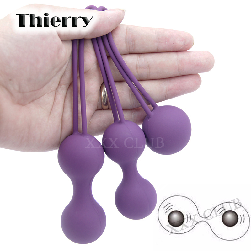Thierry 3pcs/set Kegel Exercise vibrator pelvic floor muscles vaginal tight exercise yoni egg ben wa ball sex products for women himabm 1 set natural purple amethyst drilled egg for kegel exercise pelvic floor muscles vaginal exercise yoni egg ben wa ball