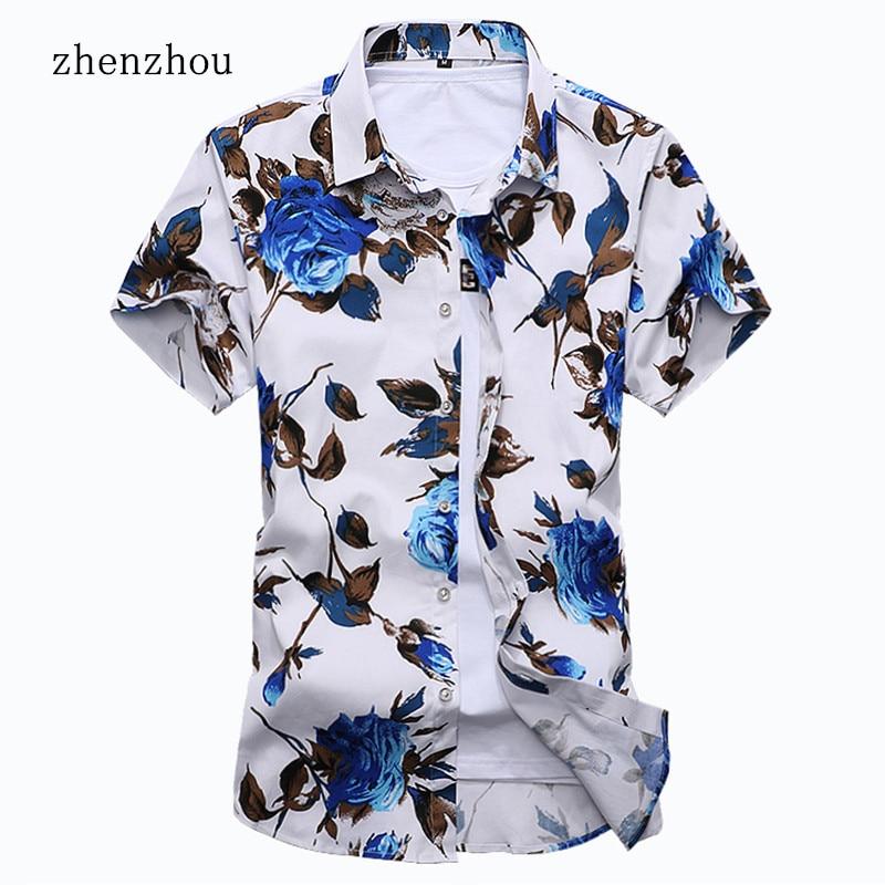 ZhenZhou 2018 Yaz Kısa Kollu Erkek Gömlek Çiçek Erkek Giysileri - Erkek Giyim - Fotoğraf 1