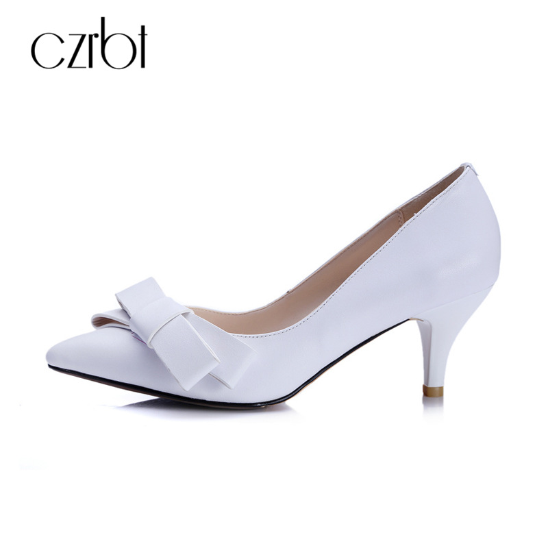 CZRBT Office Career Work Shoes Women Classics High Heels 6cm Butterfly-Knot Genuine Leather Women Pumps Office Lady Shoes my brilliant career