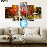 5 Pieces Multi Pictures Colorful Forest Waterfall Beautiful Landscape Paintings For Living Room Wall Decor Canvas