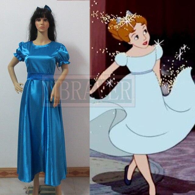 Peter Pan Wendy Cosplay Blauw Jurk Halloween Kostuums Voor Vrouwen
