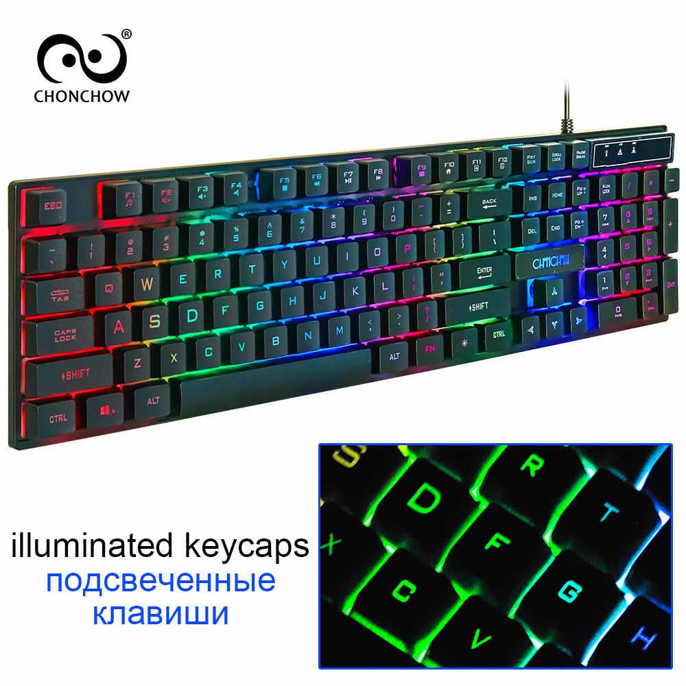 السلكية مضيئة الألعاب لوحة المفاتيح الحرة RU/ES/FR/HE تخطيط ملصق USB السلكية الكمبيوتر برو ألعاب لوحة المفاتيح يشعر الميكانيكية