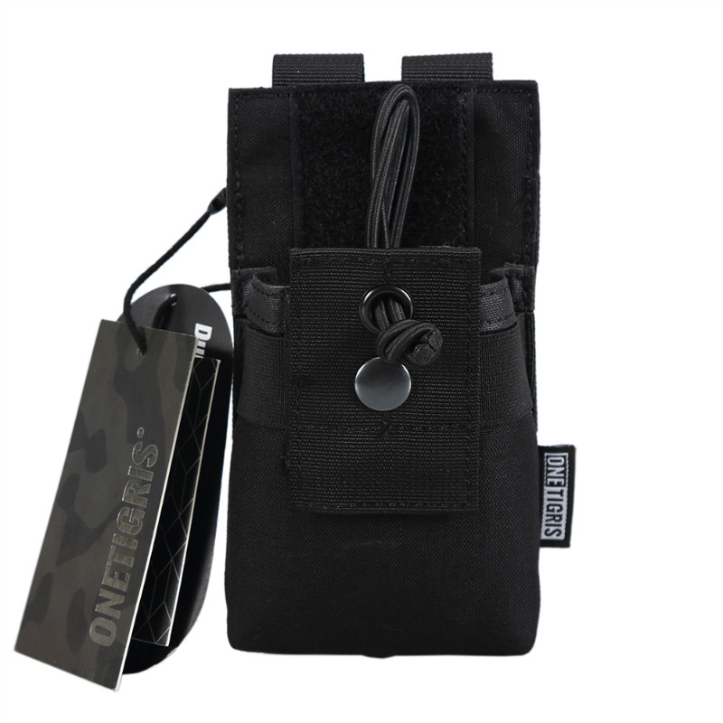 Onetigris molle tactical radio walkie talkie pouch per baofeng uv-5r bf-f8 uv-airsoft paintball caccia carry sacchetto di nylon