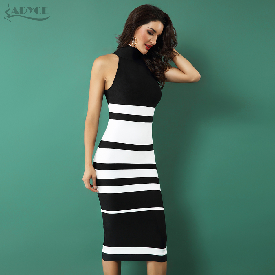 ADYCE 2020 New Elegant Bandage Dress Women Fashion Nude And White Striped Bodycon Midi Dress Vestidos Night Club Party Dresses