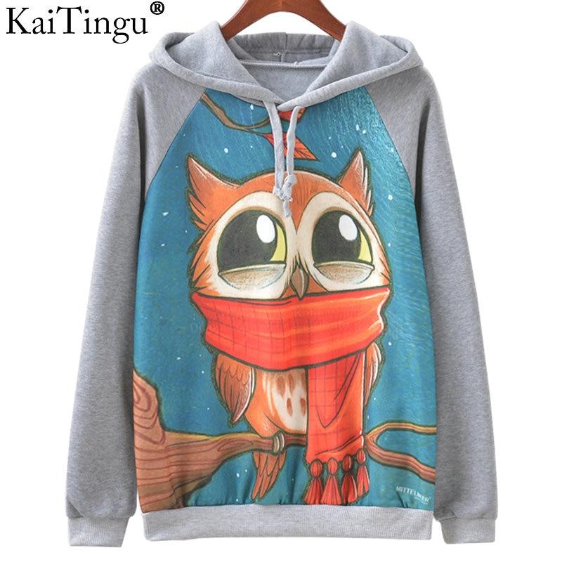 KaiTingu Brand Fashion Autumn Winter Long Sleeve Women Sweatshirt Harajuku Owl Print Hoodies Hooded Tracksuit Jumper