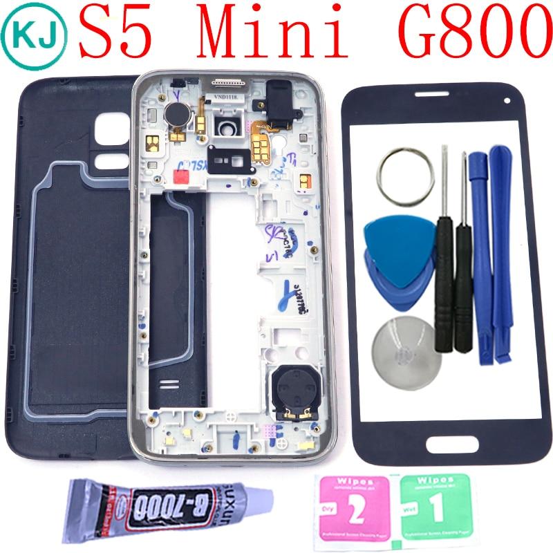 Nouveau S5Mini Retour Couvercle de La Batterie Moyen Cadre pour Samsung Galaxy S5 mini G800 G800f Plein Logement Avec Avant Tactile En Verre lentille