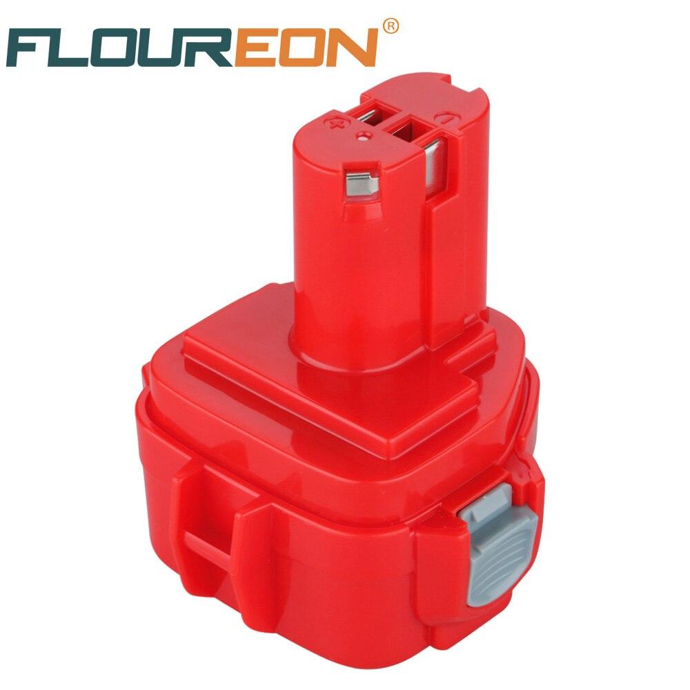 For Makita 12V 2000mAh Ni-CD FLOUREON Rechargeable Power Tools Battery for Mak Drill PA12 1220 1222 1235 1233S 1233SB 2pcs 12v 2000mah ni cd rechargeable battery for makita pa12 1220 1222 192681 5 1050d 5093d 4331d