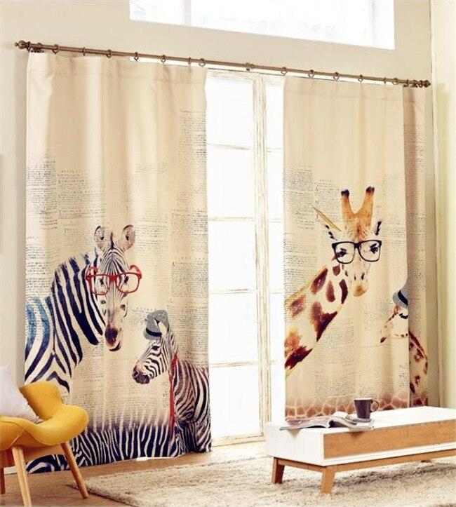 Zèbre girafe Coton et Lin Tissu imprimé 3D rideaux pour salon diviseur décoratif 012