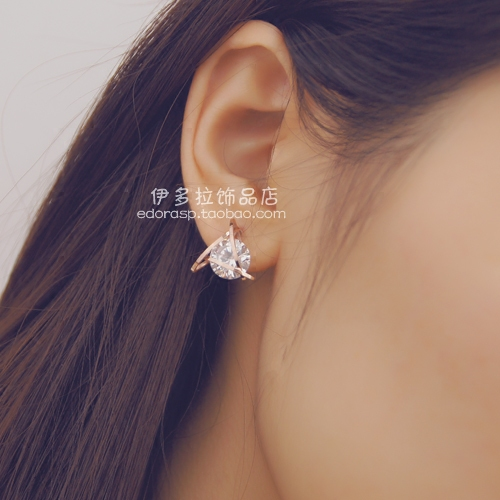 YUN RUO 2020 Rose Gold Color AAA Zirconia Triangle Stud Earring for - Mote smykker - Bilde 4