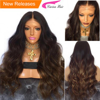 Carina Ombre Color Brazilian Body Wave Wig with Baby Hair Lace Front Wigs with Pre plucked Hairline Remy Human Hair Glueless Wig