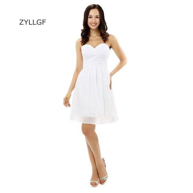 5c76afb9de ZYLLGF vestido de dama una línea de novia corto blanco gasa vestido de  fiesta con cremallera
