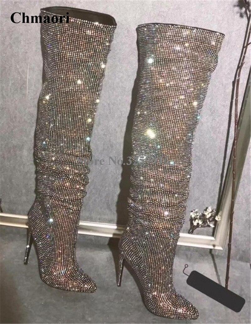 Au Longue Talon Luxe Bling Femmes Strass Genou Nouveau Design Bout Sur Bottes De Aiguille Pointu Des Mode Cristal Chaussures KclF1TuJ3