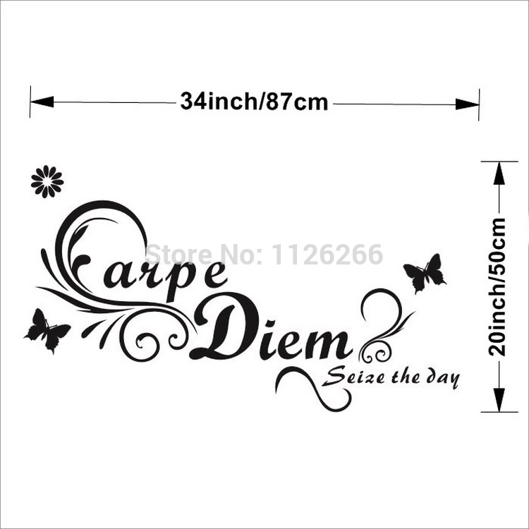 Quote Carpe Diem Seize the Day Removable Vinyl Art Wall Stickers Home Decoration Decals