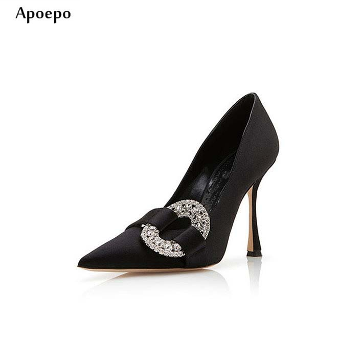 Apoepo Woman High Heel Shoes Spring Newest Pointed toe Crystal Embellished Sexy Pumps Rhinestones High Heels Wedding Shoes newest solid flock high heel pumps woman