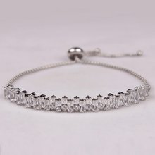 Sparkling Square Cut Cubic Zirconia and Copper Adjustable Zircon Bracelets in assorted FREE DHL Delivery USD150+