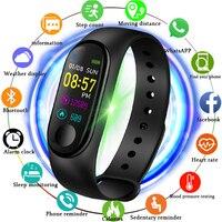 2019 nova inteligente relógio de esportes feminino relógio inteligente dos homens freqüência cardíaca monitor pressão arterial fitness rastreador pedômetro + banda