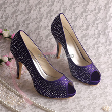 Wedopus Pumps Wedding Decoration Crystal High Heels Party Purple Satin Open Toe