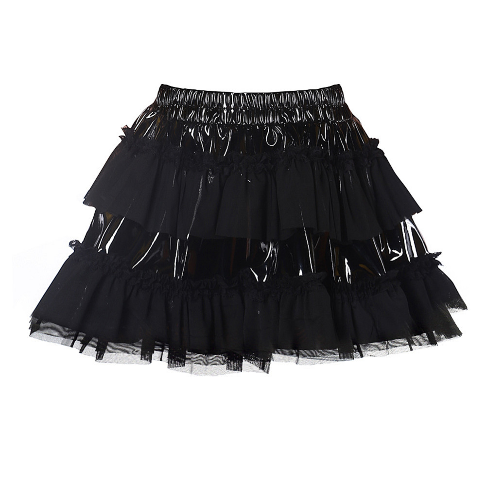 2018 New Product Sexy Black PUNK Girl Mesh Faux Leather Patchwork MINI Skirt Clubwear TUTU Skirts Plus Size S-XXL