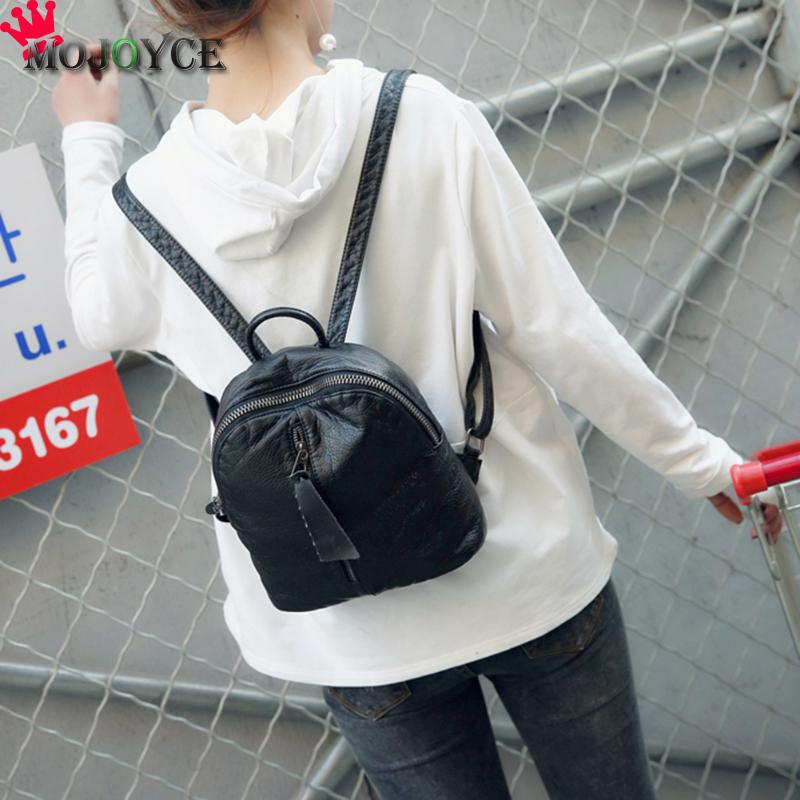 Women Fashion PU Leather Zipper Black Backpack School Student Teenage Girl PU Shoullder Bag Female Solid Casual Travel Backpack women backpack new fashion casual pu leather ladies feminine backpack candy color korea school style solid student mini backpack