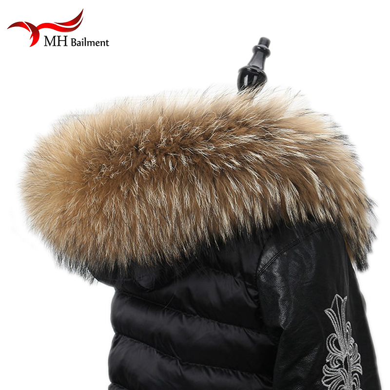 Real Fur Scarf 70*18cm Jacke Fur Collar Women Winter Coat Fur Scarves Luxury Raccoon Fur Winter Warm Neck Warmers