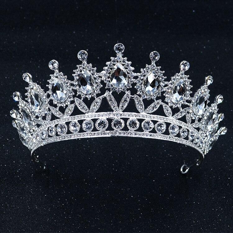 Barroco Do Vintage de Prata Coroas De Cristal Strass Tiara De Noiva Pérola Hairband Mulheres Acessórios de Cabelo Tiaras De Casamento Para Noivas