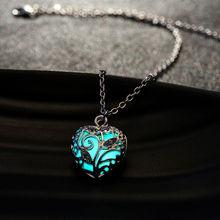 Европейский атлантида светятся в темноте стразы в форме сердца медальон ожерелье световой себе колье ожерелья для женщин