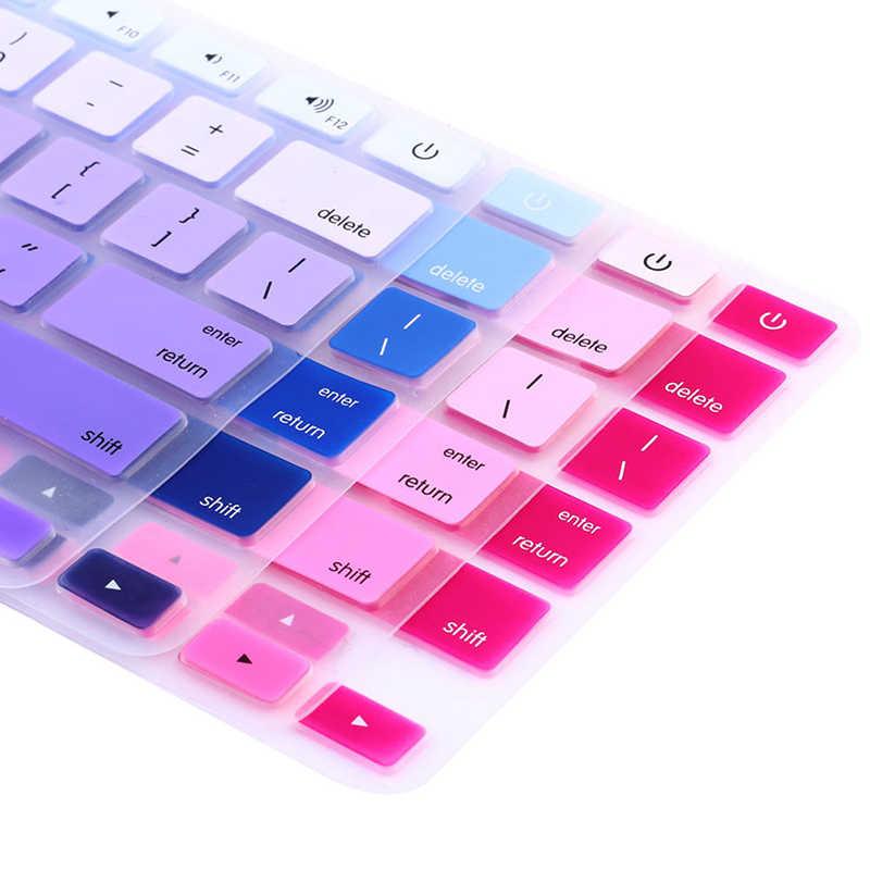 """Gorąca sprzedaż 1pc cukierkowe kolory Rainbow silikonowa klawiatura skrzynki pokrywa skóry Protector dla iMac Macbook Pro 13 """"15"""" okładka Protector"""