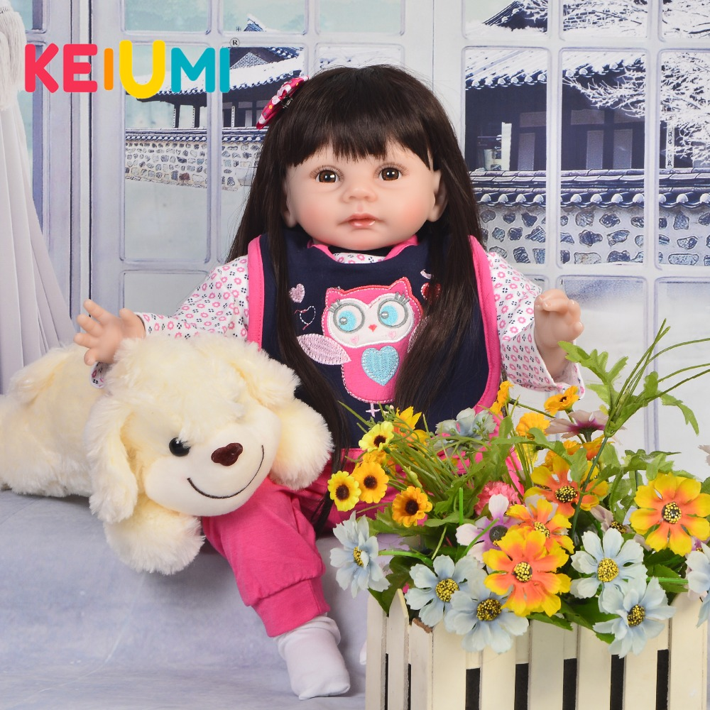 KEIUMI Cute 22'' Dolls Reborn Babies Girl Soft Silicone Body Lifelike Newborn Reborn Boneca 55 cm Baby Doll For Kids XMAS Gifts npk cute smile baby girl dolls real soft silicone reborn babies 55 cm with fiber hair realistic boneca reborn doll