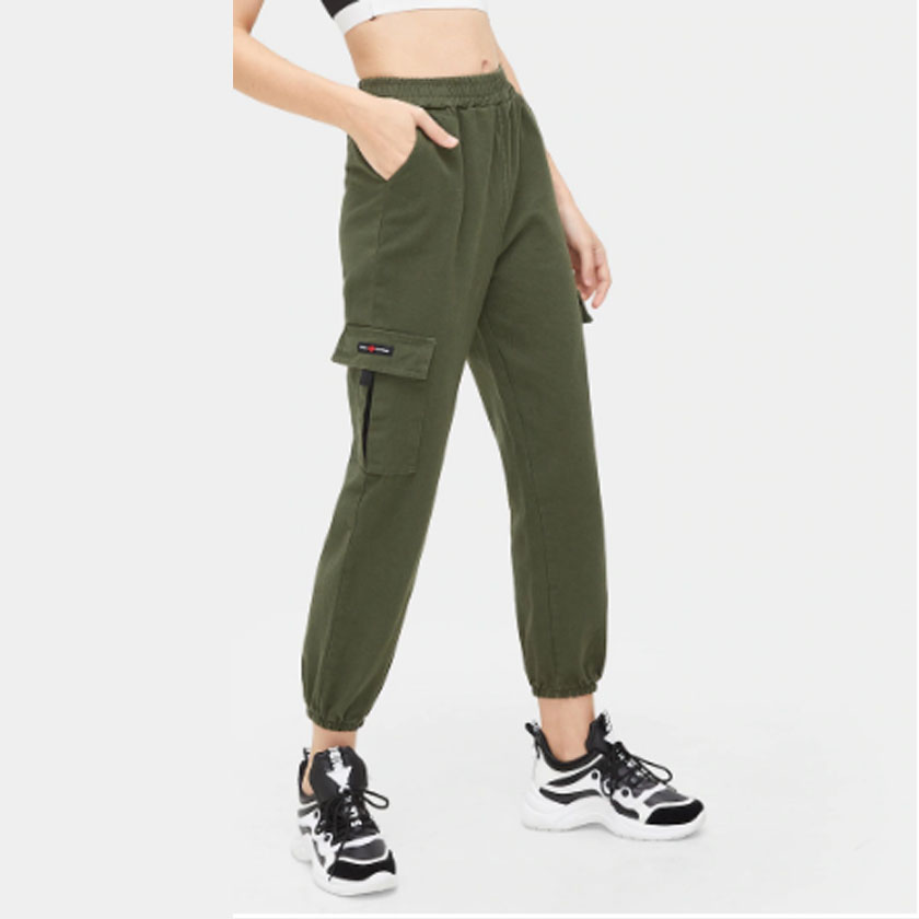 Green Cargo Pants Women Trousers Elastic Waist Big Pockets Sweatpants Military Pants Streetwear Ankle-Tied B97394