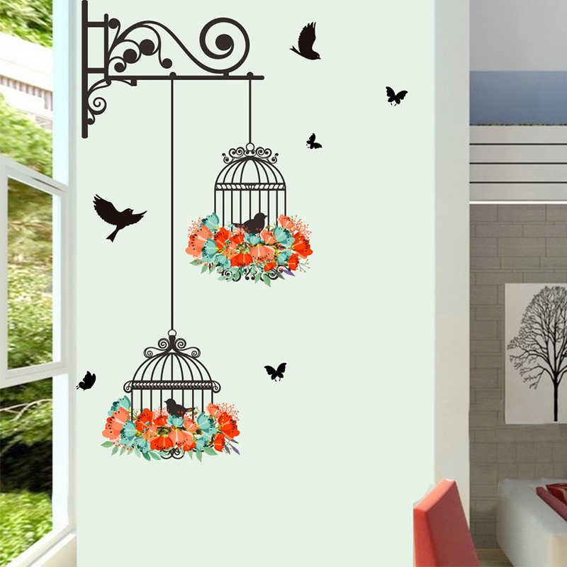 New Birdcage Flower Wall Stickers For Home Decor Living Room Bedroom Decoration Accessories PVC Mural Animal Wall DIY Art Decals